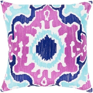 Kaelea Modern Ikat Bright Purple Feather Down or Poly Filled Throw Pillow 18-inch
