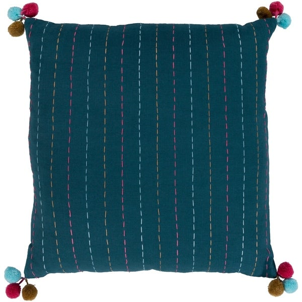 Viriato Striped Teal Feather Down or Poly Filled Throw Pillow 20-inch