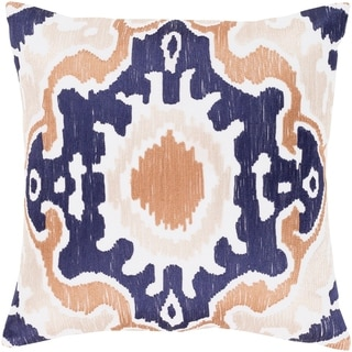 Kaelea Modern Ikat Navy Feather Down or Poly Filled Throw Pillow 18-inch