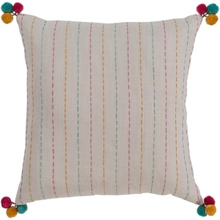 Viriato Striped Cream Feather Down or Poly Filled Throw Pillow 18-inch