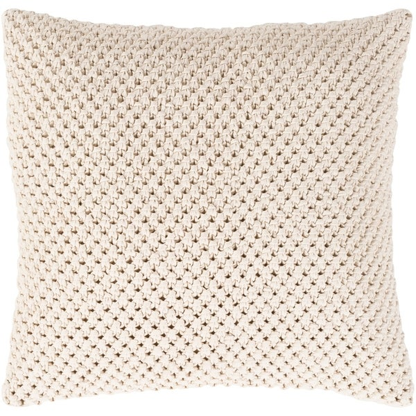 Kennet Crochet Cream Feather Down or Poly Filled Throw Pillow 18-inch