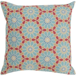 Isaija Medallion Aqua Feather Down or Poly Filled Throw Pillow 22-inch
