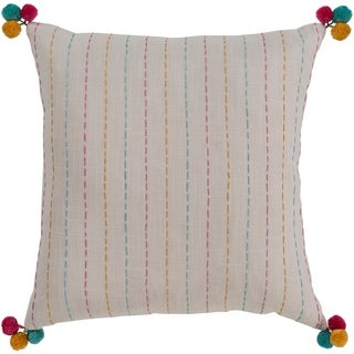 Viriato Striped Cream Feather Down or Poly Filled Throw Pillow 20-inch