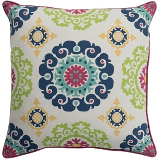Jacquelyn Medallion Modern Navy Feather Down or Poly Filled Throw Pillow 20-inch