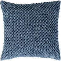 Kennet Crochet Denim Feather Down or Poly Filled Throw Pillow 20-inch