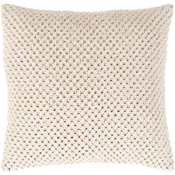 Kennet Crochet Cream Feather Down or Poly Filled Throw Pillow 20-inch