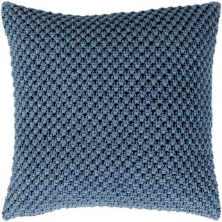 Kennet Crochet Denim Feather Down or Poly Filled Throw Pillow 22-inch