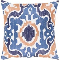 Kaelea Modern Ikat Denim Feather Down or Poly Filled Throw Pillow 22-inch