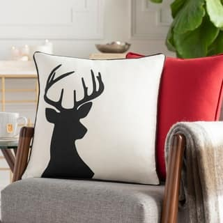 Nemorum Reindeer White Feather Down or Poly 18-inch Throw Pillow