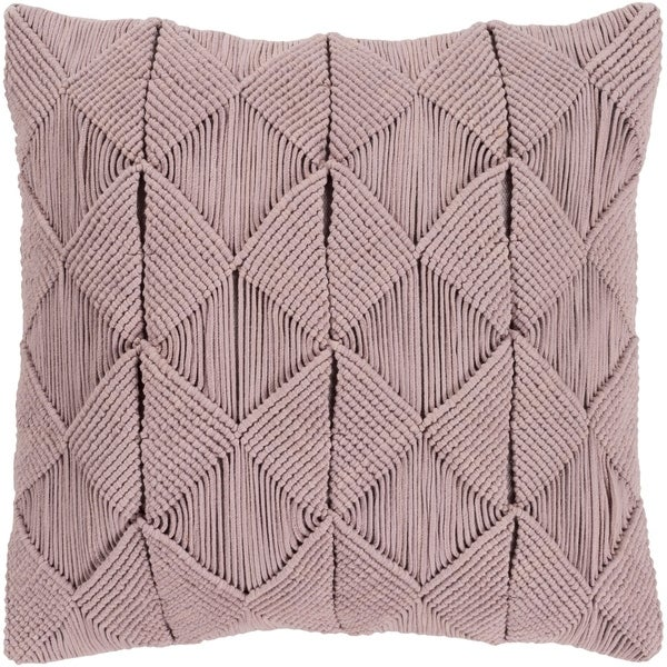 Emilija Macrame Taupe Feather Down or Poly Filled Throw Pillow 18-inch