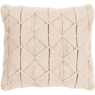 Emilija Macrame Cream Feather Down or Poly Filled Throw Pillow 18-inch