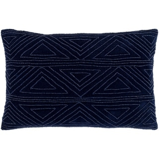 Derick Geometric Dark Blue Down or Poly Filled Throw Pillow 13 inch x 19 inch