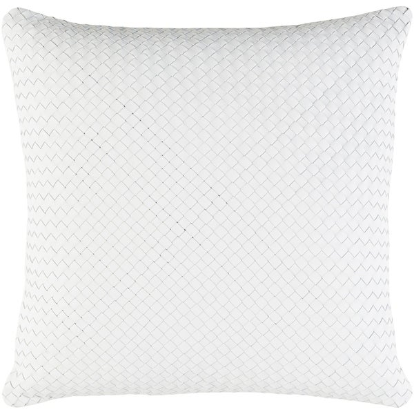 Cerdic Leather White Feather Down or Poly Filled Throw Pillow 20-inch