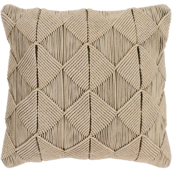 Emilija Macrame Sage Feather Down or Poly Filled Throw Pillow 18-inch