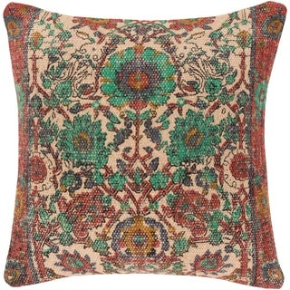 Eris Oriental Traditional Orange Feather Down or Poly Filled Throw Pillow 18-inch