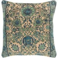 Eris Oriental Traditional Mint Feather Down or Poly Filled Throw Pillow 22-inch