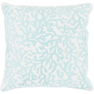 Lynna Coastal Aqua Feather Down or Poly Filled Throw Pillow 22-inch