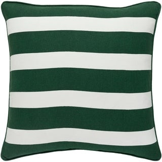 Circulus Stripe Holiday Green Feather Down or Poly Filled Throw Pillow 18-inch