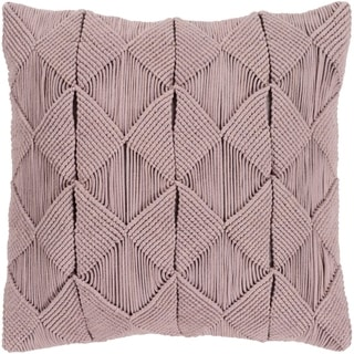 Emilija Macrame Taupe Feather Down or Poly Filled Throw Pillow 20-inch