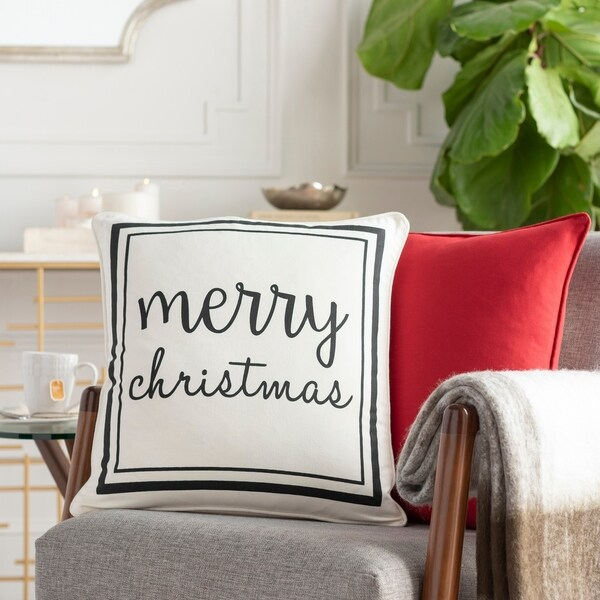 Christmas White Feather Down or Poly Filled 18-inch Throw Pillow