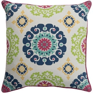 Jacquelyn Medallion Modern Navy Feather Down or Poly Filled Throw Pillow 18-inch