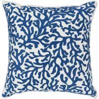 Lynna Coastal Dark Blue Down or Poly Filled Throw Pillow 18 inch