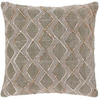 Mahva Traditional Light Gray Feather Down or Poly Filled Throw Pillow 20-inch