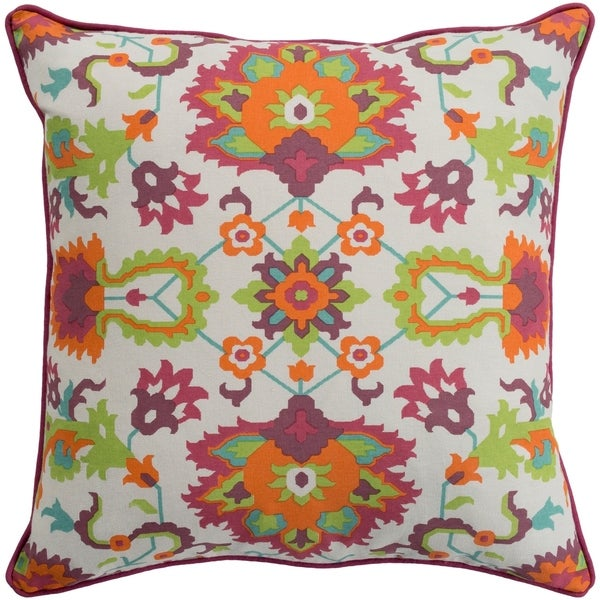 Kyna Floral Modern Bright Orange Feather Down or Poly Filled Throw Pillow 18-inch