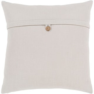 Demetra Traditional Button Ivory Feather Down or Poly Filled Throw Pillow 18-inch