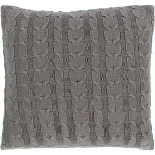 Rosali Knit Medium Gray Feather Down or Poly Filled Throw Pillow 20-inch