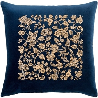 Samar Traditional Floral Navy Feather Down or Poly Filled Throw Pillow 18-inch