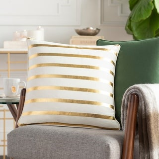 Aurum Stripe Holiday White Down or Poly Filled Throw Pillow 18 inch