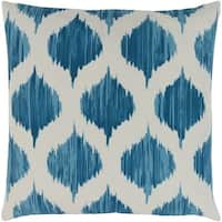 Valeriya Modern Ikat Bright Blue Feather Down or Poly Filled Throw Pillow 22-inch
