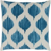 Valeriya Modern Ikat Bright Blue Feather Down or Poly Filled Throw Pillow 18-inch