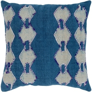 Donaghey Traditional Dark Blue Feather Down or Poly Filled Throw Pillow 20-inch