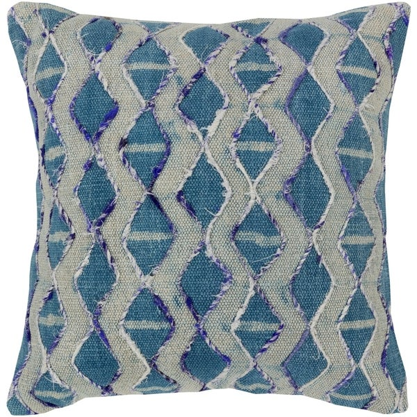 Mahva Traditional Dark Blue Feather Down or Poly Filled Throw Pillow 20-inch