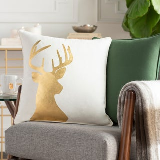 Nemorum Reindeer Holiday Gold Feather Down or Poly Filled Throw Pillow 18-inch