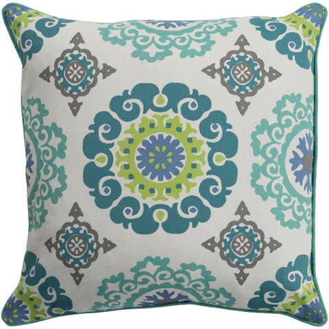 Jacquelyn Medallion Modern Mint Feather Down or Poly Filled Throw Pillow 18-inch