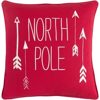 Aquilonem North Pole Holiday Red Feather Down or Poly Filled Throw Pillow 18-inch