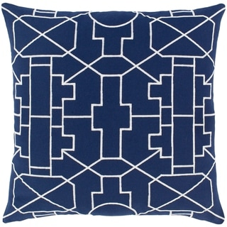 Nuria Geometric Navy Feather Down or Poly Filled Throw Pillow 18-inch
