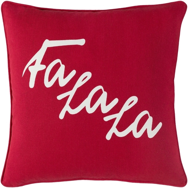 Cantate Fa La La Holiday Bright RedDown or Poly Filled Throw Pillow 18-inch