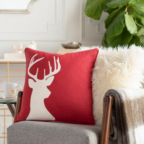 Nemorum Reindeer Red Feather Down or Poly 18-inch Throw Pillow