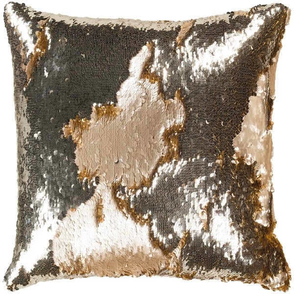 Chroma Metallic Modern Wheat Feather Down or Poly Filled Throw Pillow 18-inch