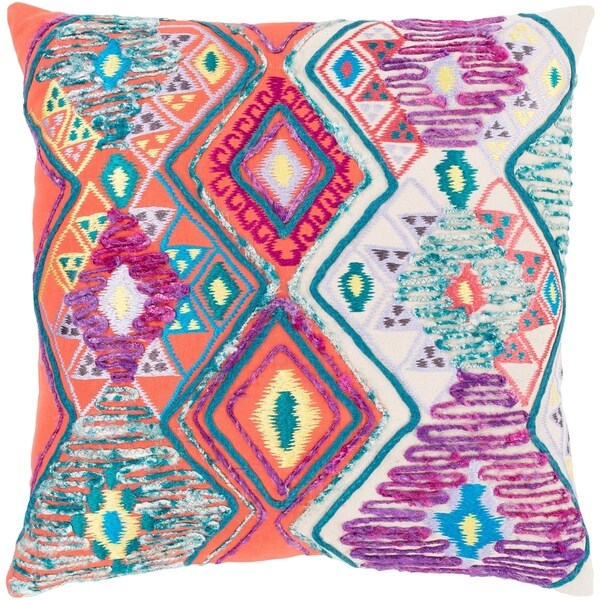 Hasan Traditional Bright Orange Feather Down or Poly Filled Throw Pillow 22-inch