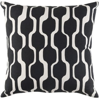 Haylie Modern Trellis Black Feather Down or Poly Filled Throw Pillow 18-inch