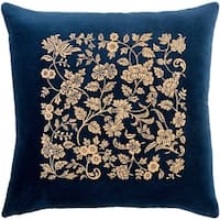 Samar Traditional Floral Navy Feather Down or Poly Filled Throw Pillow 20-inch