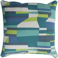 Antonin Abstract Modern Teal Feather Down or Poly Filled Throw Pillow 18-inch