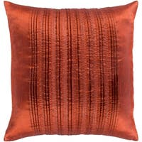 Josune Metallic Burnt Orange Feather Down or Poly Filled Throw Pillow 20-inch