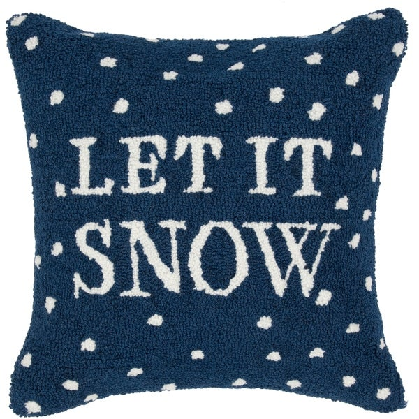 Nieve Snow Holiday Navy Feather Down or Poly Filled Throw Pillow 18-inch