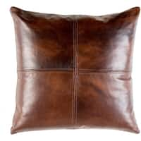 Mohan Leather Dark Brown Down or Poly Filled Throw Pillow 20 inch